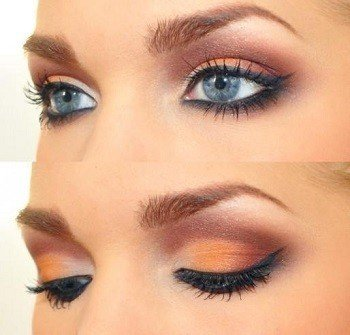 maquillage orange pour yeux bleus